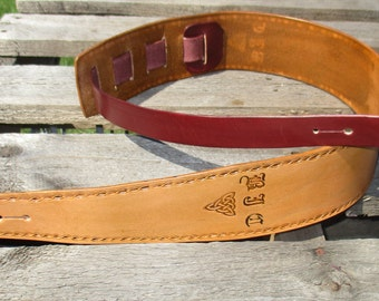 Personalized 3 Inch  Leather Guitar Strap Custom made.