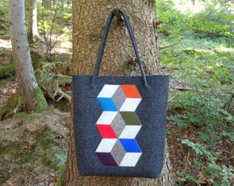 cube - shopper / shoulder bag / tote bag from felt