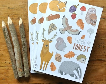 Woodland Notebook and Twig Pencil, Forest Print Notebook, Woodland Animal Art Print, Deer Notebook, Fox Notebook, Owl Notebook, Art Journal