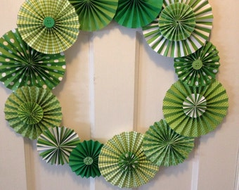 Green and White Pleated Paper Rosette Wreath