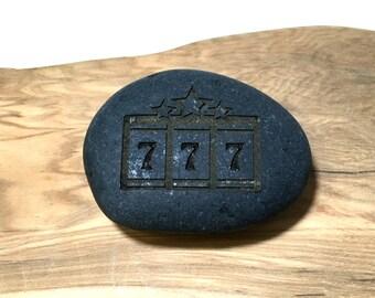 Custom engraved Lucky Pebble/ Engraved Good Luck Pocket Pebble