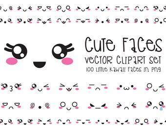 Premium Vector Clipart - Kawaii Faces - Cute Faces Clipart Set - High Quality Vectors - Instant Download - Kawaii Clipart