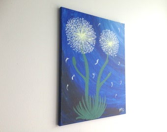 Blue Dandelions, Dandelion Painting, Wish Flower Painting, Flower Painting, Nature Art, Nature Painting, Landscape Painting Abstract Art