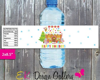 Gingerbread Water Bottle Labe, Winter Holiday Water Bottle Wrappers, Printable Water Bottle Label, Happy Holidays Wrappers Instant Download