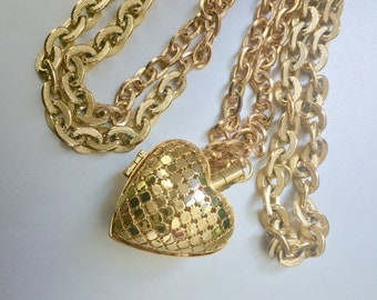 Vintage Gold Mesh Puffy Heart Locket Necklace