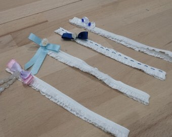 """Of modernity... Garters white elastic with """"petticoat"""", with node, beads and lace, 4 models to choose from."""