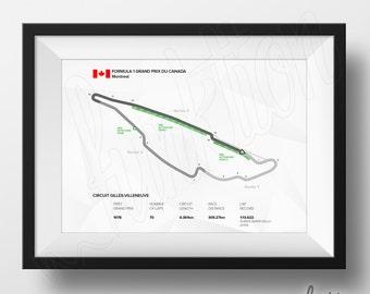 Circuit Gilles Villeneuve - Formula 1 Edition - F1 Race Track Map - 8 x 10 Print - Montreal Canada