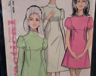 Vintage 1960's Practical 6321 Sewing Pattern Mod Mini Dress