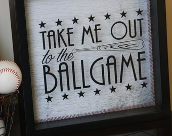 Baseball Vinyl Decal, Take me out to the Ballgame: does not include shadow box, choose your size