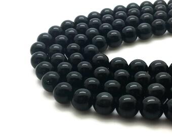 8mm Natural Black Obsidian Beads Round 8mm Black Obsidian 8mm Black Gemstone 8mm Black Stone 8mm Beads Gemstone Black