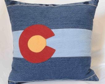 Repurposed Denim Colorado Flag Pillow