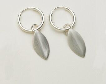 Sterling silver petal earrings, dangle earrings, drop earrings