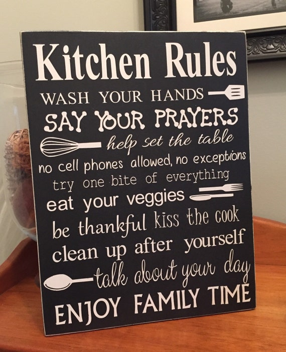 Kitchen Rules Sign: Kitchen Rules Wood Sign Home Decor Kitchen By