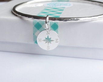 Sterling Silver Stacking Bangle with a Compass Charm - Choose Size and Thickness
