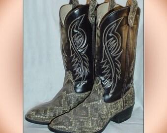 Vintage Faux Diamondback Rattlesnake Boots Men's Size 11D