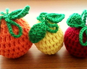 30% OFF ENTIRE PURCHASE Coupon Code  (CBE30) Set of 3 Crochet Fruit Cozies