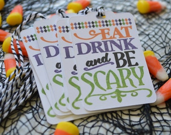 The Halloween Collection Gift Tags - Eat Drink and be Scary - Halloween Treat Tags - Witches Brew Tags
