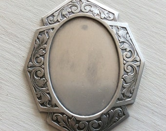 Pendant setting antiqued silver brass 40x30mm setting