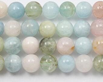 beryl  10mm 8 inch round bead strand. AA GRADE