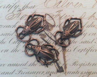 Antique brass scarab beetles 6pc