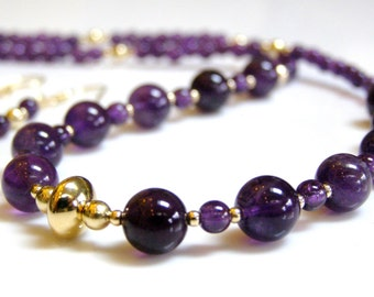 Amethyst Necklace and Earrings - Purple Amethyst with 14K Gold Fill, Purple and Gold, Juicy Purple Stone / Gemstone, Birthstone Necklace Set