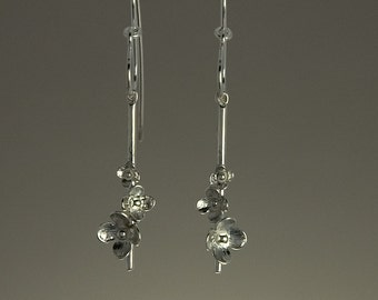 Three flower drop earring hand-made in 925 sterling silver, inspired by nature