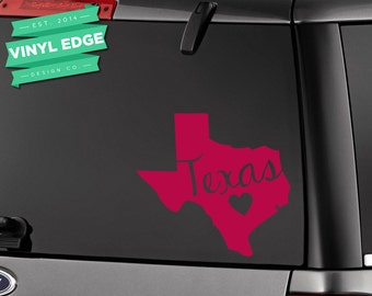 Texas Heart Car Decal with Text - Texas Love Heart State Car Decal - State Vinyl car window bumper decal - [CWD0009]