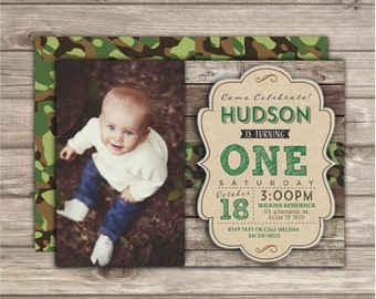 First Photo Invitation Birthday Camo Printable Invitations Boy Rustic wood Camouflage Boy Picture Invitations 1st Birthday NV6246