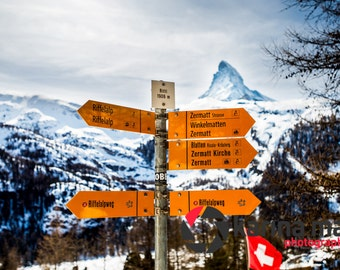 Swiss Alps Scenery, Winter, Snow Covered Field, Matterhorn Mountain, Switzerland, Zermatt, Mountain Photography, Wall Art