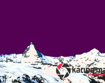 SALE Swiss Alps, Mountain Print, Matterhorn Pop Art, Switzerland Poster, Zermatt, Wall Art, Pop Art, Photograph, Home Decor