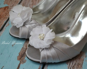 White Chiffon Flower Shoe Clips | Pearl Rhinestone | Wedding Bridal Accessories | Shoe Flowers | Bridal Bridesmaid Gifts