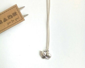 Cute Cat Necklace, Cat Charm Necklace, Cat Jewellery, Animal Jewellery, Sleepy Cat Necklace, Cat Lover Gift