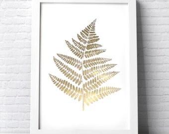 Gold Fern Leaf illustration original botanical plant painting made with gold ink