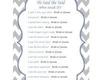 He Said She Said Bridal Shower Game Printable Wedding Shower Game, Royal Blue, Who Said It, Bride or Groom Game 382
