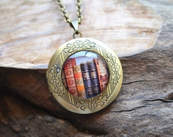 Book Necklace, Book Jewelry, Librarian Pendant, Books Locket Necklace,Bibliophile,Book Lover Necklace,Literary Jewelry,Library Book picture