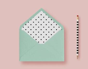 Polka Dot, Black and White, Envelope Liner, A7 Envelope Liner, Euro flap, Pointed Invitation Envelope, Printable or Printed