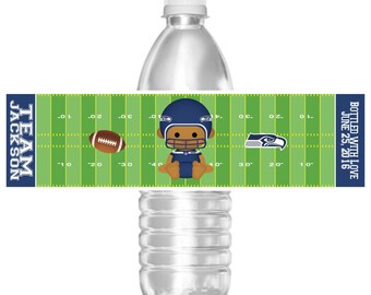 Printable Seattle Seahawks Football Baby Shower Water Bottle Labels Boy and Girl Cheerleader Personalized