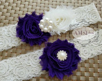 Wedding Garter Set, Purple garter Set,Garter Belt,Grape Garters,Ivory garters,Toss Lace Garter,Purple Wedding,Grape wedding,Ivory and Purple