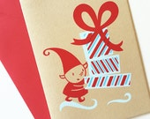 Holiday Card Set, Elf with Red and Blue Striped Presents and Bow (Set of 6 Mini Cards)