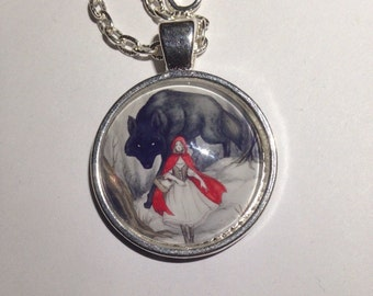 Little Red Riding Hood & The Wolf Cabochon Pendant Necklace 24""