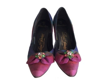 Vintage Stilettos- Womens Size 5 - 1940s Shoes Laird Schober Silk High Heels -  Pink Purple and Blue Rare Designer Shoes
