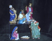 Avon Bethlehem Nativity Collection, Baby Jesus, Mary, Joseph, 3 Kings Balthasar, Kaspar, Melchior, Vintage Nativity Fine Figurines Set