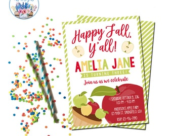 Fall Party Invitation, Apple Birthday Invite, Fall Birthday Party, Happy Fall Y'all