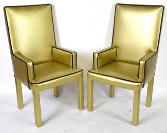 Gilt Vinyl Modern Arm Chairs (Pair)