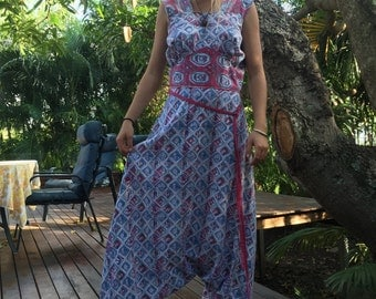 Vintage 70's Indian cotton harem jumpsuit