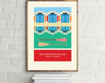 Because it's oarsome – illustration. A3 or A4 print – Wellington New Zealand series.