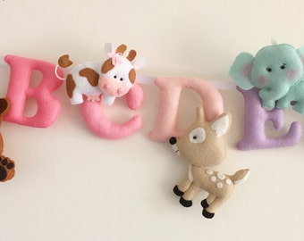 Alphabet Banner Embellished with Felt Animals-Children's Alphabet-Nursery Decoration-Playroom-Bedroom Educational-Padded Letters