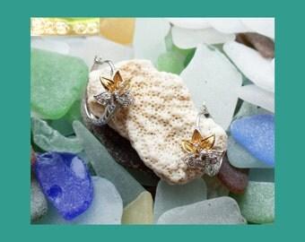 """STERLING CZ """"Diamond"""" Gold Vermeil LOTUS Hoops~Hinged Oval Hoop Flower Earrings~925 Silver Hoops~Signed Vintage~Hawaii Asian boho hippie"""