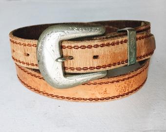 vintage southwestern belt with silver buckle