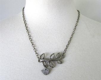 Antique Bronze Bird on Branch Necklace